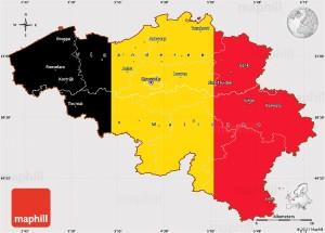 Flag simple map of Belgium.